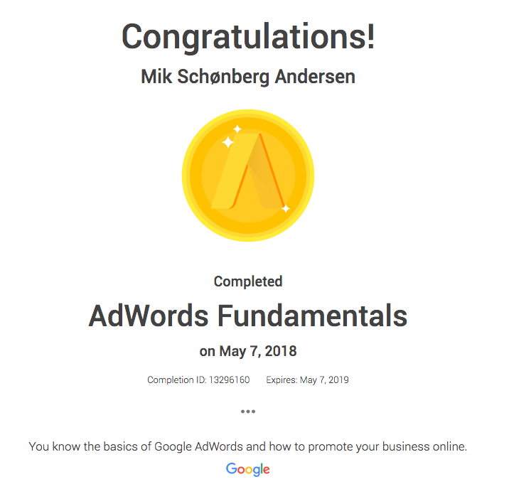 AdWords fundamentals certificering