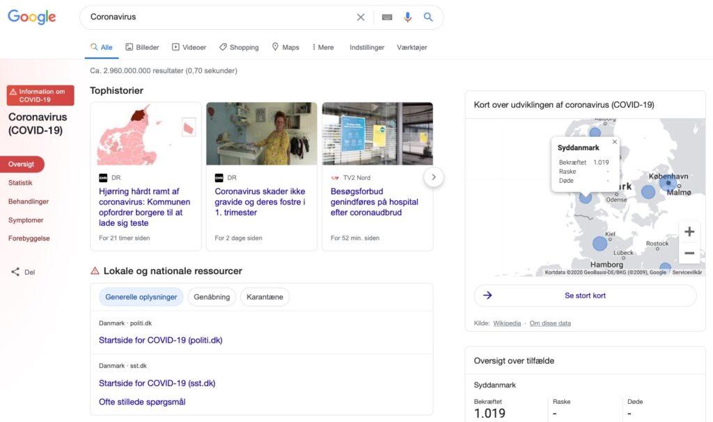 Coronavirus google